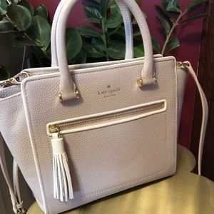 Gray with white and gold detail Kate spade purse!